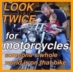 """Watch out for Motorcycles we are tired of hearing """"I Didn't See Him/Her"""". AND we're tired of drivers TURNING LEFT IN FRONT OF MOTORCYCLES. 36% of bikers killed in a motorcycle accident is because of a driver """"turning left in front of the motorcycle"""". STOP, look, look again, and AGAIN!!! www.bikersbuzz.co We RAISE MOTORCYCLE AWARENESS and HELP bikers after a motorcycle accident."""