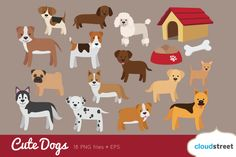:-> Cute Dogs Clip Art by cloudstreetlab on @creativemarket