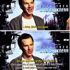 Thank you Benedict for saying that! Men, it's okay to cry. In fact, tears say more than words could ever