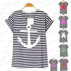 7 colors Navy Striped with Printed Anchor Bear women T-shirts short Baw Sleeve t shirts Stretch Cotton tees Modal tops S/M