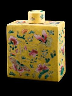 Chinese tea caddy. Oriental accessories can go with many styles of decor. Some have great designs & colors like this one.
