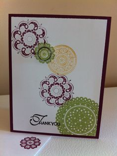Stampin up lacy & lovely as a simple thank-you card. Colours used are rich razzleberry, pear pizzazz, & so saffron