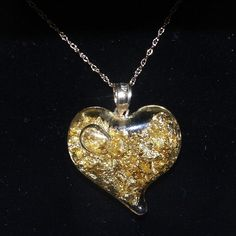 24kt Gold Flakes in Heart Shaped Glass Pendant