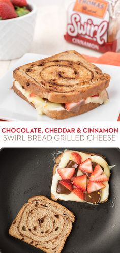 Chocolate, Cheddar & Cinnamon Swirl Bread Grilled Cheese:  Thomas' Cinnamon Swirl Bread gives this grilled cheese the perfect touch of sweetness. Made with White Cheddar cheese, Mascarpone cheese, milk chocolate, strawberries, and orange zest, it's a cheesy treat you'll want to make over and over.