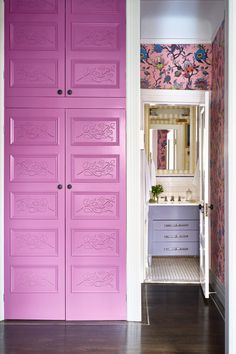 pink painted wall in hallway