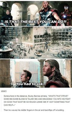 When Bucky finally got Cap to take a look in the mirror. | 24 Times Tumblr Had Hilariously Great Ideas For The Avengers