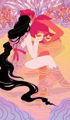 Xanthe Bouma (prints art romance pastel pink fantasy pool salmon knights nymphs lake water love kiss)