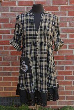 Tan, negro & metálico Plaid multi-Size franela y ojal vestido túnica - Upcycled