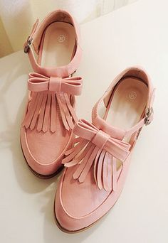 Sweet Tassel Bowknot Round-toe Square Heel Shoes