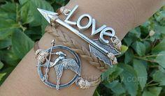 games bracelets,mockingjay pin bracelet,catching fire bracelets,leather bracelet,fashion charm jewlery,arrow bracelet,love bracelet,couple