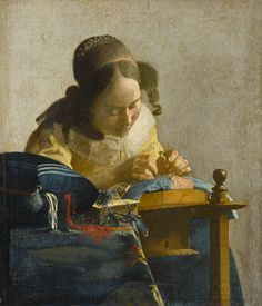 the lacemaker by Johannes Vermeer.  We had a print of this in my grandma's sewing corner, maybe that's why I love it so.