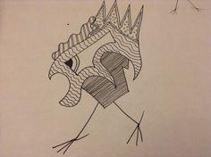An angry zentangle doodle bird...