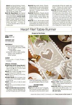 beautiful heart filet crochet runner