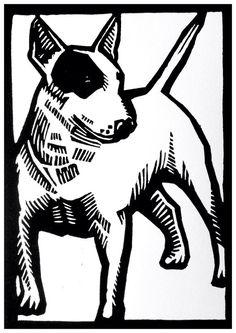 ORIGINEEL Artwork linosnede/linodruk handprinted Bull Terrier on Etsy, € 43,99
