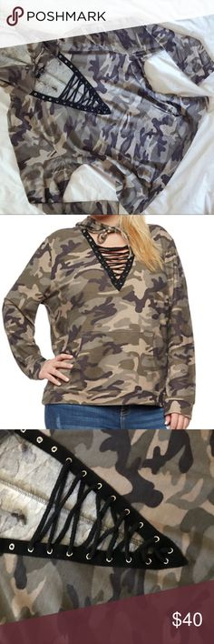 """lace up hoodie ❥ camo print hoodie with lace up detail. lightweight sweater material. plus size ❥ new without tags  ❥ approx: bust 46"""", length 27"""" ❥ stretchy cleo Sweaters"""