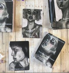 This deck is contains 40 cards, featuring charcoal portraits by Angela Amias from her series entitled XX and a booklet with accompanying essays by Megan Matthews. Oracle Deck, Charcoal Portraits, Divine Feminine, Booklet, Faces, Products, Art, Art Background, Face