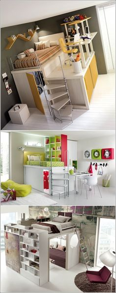 5 Amazing Space Saving Ideas for Small Bedrooms -A small bedroom if designed smartly can also serve as a space where you can sleep, work, sit and store things. -Raise the Bed and Utilize the Space Underneath . Awesome Bedrooms, Cool Rooms, Cool Bedroom Ideas, Girls Bedroom, Bedroom Decor, Loft Bedrooms, Bedroom Bed, Bedroom Small, Raised Beds Bedroom