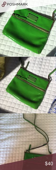 Kate Spade Green CrossBody Bag Lightly worn inside but no marks on the actual bag itself!! This is one of my favorite bags!!! Always get so many compliments to it's hard to give it up! Comes from pet and smoke free home! Make offers! Willing to negotiate! kate spade Bags Crossbody Bags