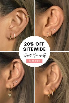 Affordable Huggie Hoop Earrings in Gold Vermeil, Sterling Silver, Rose Gold Vermeil. Hypoallergenic, Free U. Pretty Ear Piercings, Double Ear Piercings, Ear Peircings, Ear Jewelry, Cute Jewelry, Body Jewelry, Jewelery, Bijoux Piercing Septum, Piercing Tattoo