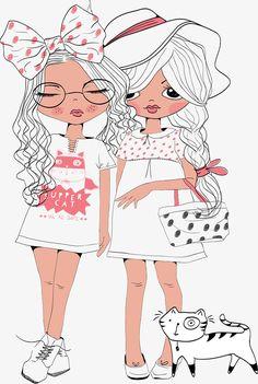 ^ 💄Cute girls unite, together forever. Illustration Mignonne, Illustration Girl, Girl Cartoon, Cute Cartoon, Cartoon Drawings, Cute Drawings, Art Mignon, Digi Stamps, Illustrations