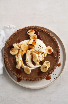 """""""Traditionally, banoffee pies are made with pastry or crushed-biscuit base, then filled with a toffee made from condensed milk. My banoffee is so much more nourishing, as it uses wholesome ingredients and minimal sugar. Fancy Desserts, No Bake Desserts, Dessert Recipes, Pie Recipes, Easy Recipes, Sweet Pie, Sweet Tarts, Yummy Snacks, Yummy Food"""