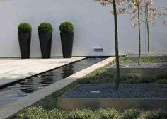 jardin minimaliste avec étang d'eau