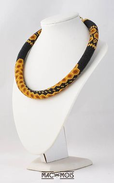 Bead crochet necklace Black yellow brown honey color choker
