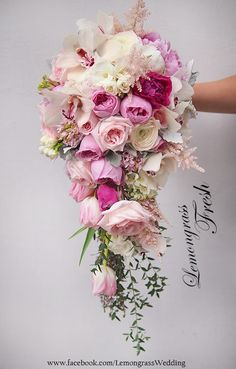 pink bridal bouquets waterfall size additional price will be applied Cascading Bridal Bouquets, Bridal Bouquet Pink, Cascade Bouquet, Fall Wedding Bouquets, Bride Bouquets, Bridal Flowers, Flower Bouquet Wedding, Bridesmaid Bouquet, Floral Bouquets