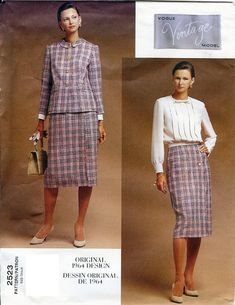 Vogue Vintage Model Original 1964 Design Pattern 2253 Misses Jacket, Skirt & Blouse 6-10 UNCUT