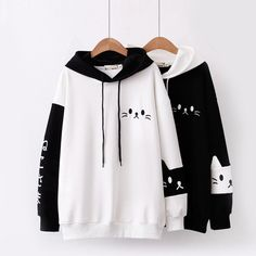 Cartoon Letter Cat Embroidery Patchwork Hoodie Fall Pullover Long Sleeve Sweatshirt - BeFashionova - Source by sarrenka - Fashion Mode, Teen Fashion Outfits, Korean Fashion, Cool Outfits, Casual Outfits, Kawaii Fashion, Cute Fashion, Fashion Styles, Sweat Style