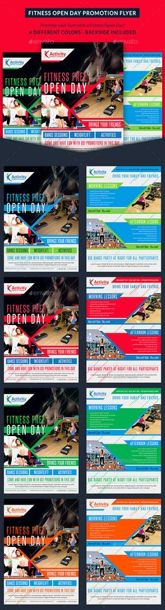 Fitness and Gym Open Day Promotion Flyer by HollyMolly Promote your gym with an Open Day!A professional Fitness, Gym or Sports promotion flyer template to increase your clients and prom
