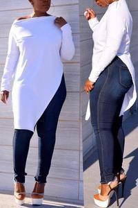 Casual Falbala Design T-shirt Older Women Fashion, Black Women Fashion, Curvy Fashion, Plus Size Fashion, Womens Fashion, Fashion Fall, Fashion Edgy, Fashion 2020, Ladies Fashion
