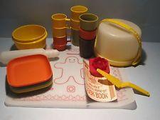 Vintage Tupperware Toys Mini Mix-It Mixing Set u0026 Harvest Colors Cups u0026 Square Plates & Vintage Tupperware 8