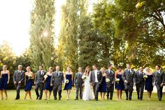 Navy and grey bridal party picture