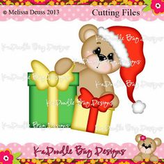 Gift Bear Paper Piecing Pattern, Cutting File, Scrapbook, Silhouette Studio, SVG File, MTC, SCAL, KaDoodle Bug Designs