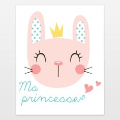 Baby bunny cute Art from BoomBoomPrints.com! https://www.boomboomprints.com/Product/anitadeandrade/Ma_Princesse/Art_Prints/8x10/ baby, bunny, girl, love, heart, vector, illutration, art, princess, funny, cute, french, polkadots,