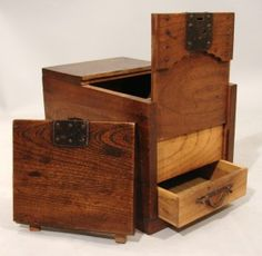 Japanese Merchant's Chest with Secret Compartment Secret Compartments in Wooden Japanese Merchant's Chest – Stash Vault [This is not a puzzle box, but has a hidden drawer]