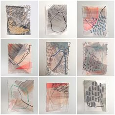 This week I've really been enjoying making these small works on paper. I've been fighting with larger canvas work and it's been a… Abstract Watercolor, Abstract Art, Sketchbook Inspiration, Painting Inspiration, Textiles Sketchbook, Small Words, Small Art, Mark Making, Art Journal Pages