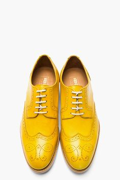 Mustard Yellow Leather Wingtip Brogues