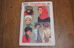 Hat Patterns Vintage Simplicity 7872 by strangenotions on Etsy, $12.95