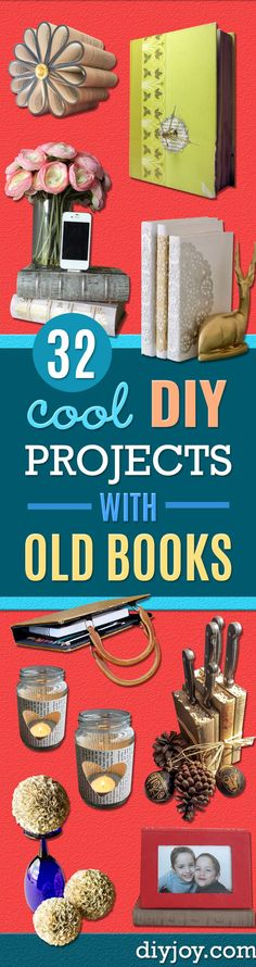DIY Projects Made With Old Books - Make DIY Gifts, Crafts and Home Decor With Old Book Pages and Hardcover and Paperbacks - Easy Shelving, Decorations, Wall Art and Centerpieces with BOOKS via @diyjoycrafts Old Book Art, Diy Old Books, Old Book Crafts, Book Page Crafts, Recycled Books, Old Book Pages, Diy With Books, Easy Homemade Gifts, Diy Gifts