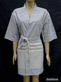Soft cotton light weight gray colour women's kimono