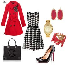 Like the houndstooth and red with the bag and shoes. Skip the accessories.