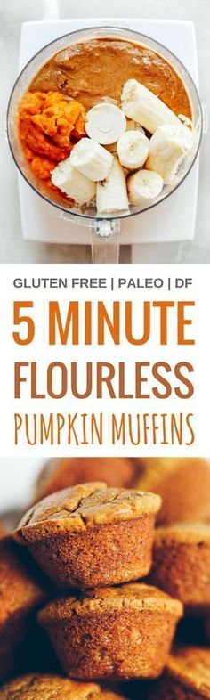 5 Minute 71 calorie paleo pumpkin spice protein muffins Flourless pumpkin banana muffins make for easy meal prep perfect for cozy fall breakfasts or post workout fuel Nat. Gluten Free Baking, Gluten Free Desserts, Gluten Free Recipes, Paleo Baking, Pumpkin Recipes, Fall Recipes, Holiday Recipes, Healthy Sweets, Healthy Snacks