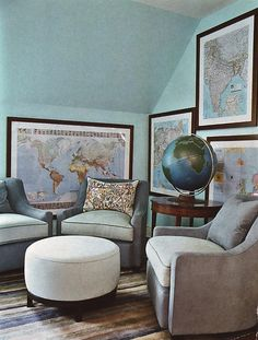 Love turquoise. I have always wanted to decorate a guest room with maps. Maps of places we've been, a pin-map, maps people sent me...