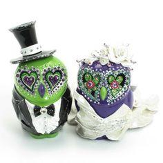 Owl Lover Wedding Cake Topper Green Purple Ceramic C00002