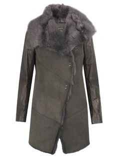 Muubaa Isabela Shearling Coat in Storm Grey
