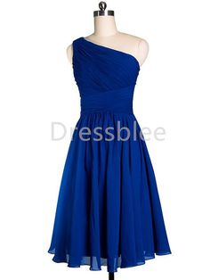Bridesmaid Dress One Shoulder Short Blue Chiffon by DressbLee, $89.00