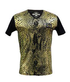 - Mens short sleeve v-neck tee - 100% cotton - Gold foiling snake print on front & back - Metal patch on front - Miami Designer - Authorized Dealer - Made in USA Color: Black