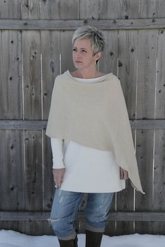 Organic clothing Hemp Sweater Knit Shawl Poncho by EverydayPixie, $115.00